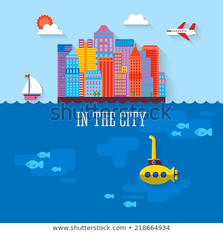 Stockfoto: Submarine Vector Illustration In Flat Design