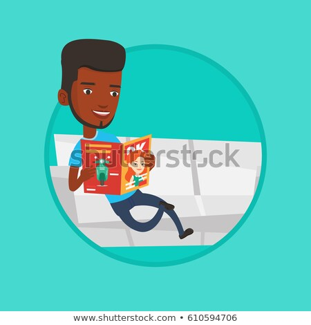 man reading magazine on sofa vector illustration stock photo © rastudio