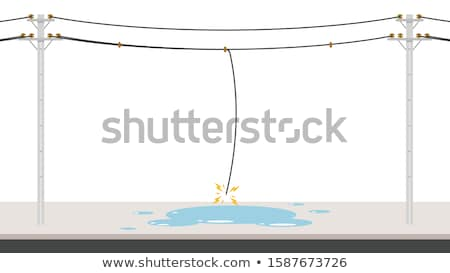 wooden pole with electric wires stock photo © kotenko