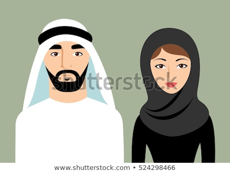 vector arab family, muslim people, saudi cartoon man and woman. stock photo © NikoDzhi