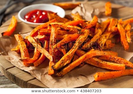 Zoete aardappel ketchup restaurant fast food dieet Stockfoto © M-studio