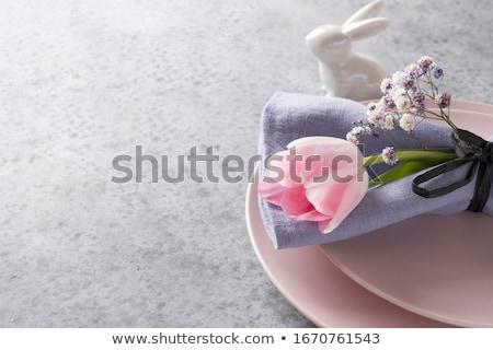 Пасху место пастельный розовый украшенный еды Сток-фото © klsbear