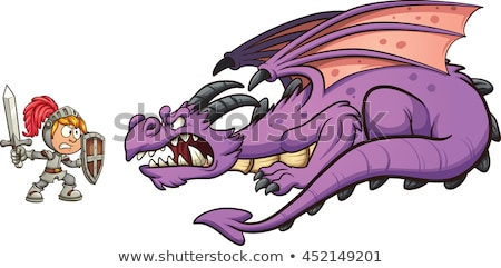 Foto stock: Cartoon Dragon And Knight