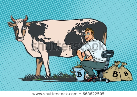 Businessman mines bitcoins milking a cow, world business Stock photo © studiostoks