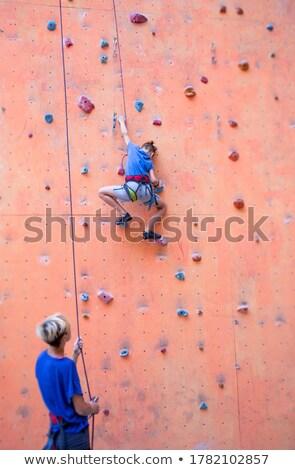 Trener chłopca wspinaczki fitness studio człowiek Zdjęcia stock © wavebreak_media
