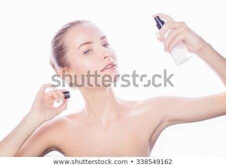 Fiatal nő spray izolált fehér mosolyog ablak Stock fotó © julenochek