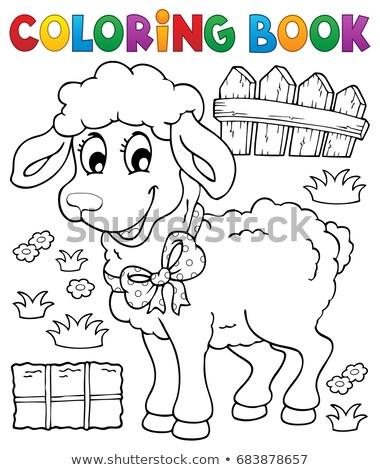 Libro para colorear ovejas libro feliz naturaleza arte Foto stock © clairev