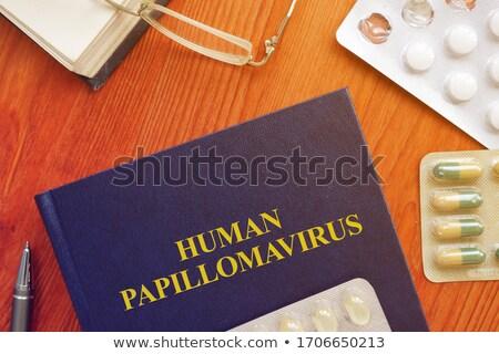 Afgedrukt diagnose medische oranje stethoscoop pillen Stockfoto © tashatuvango