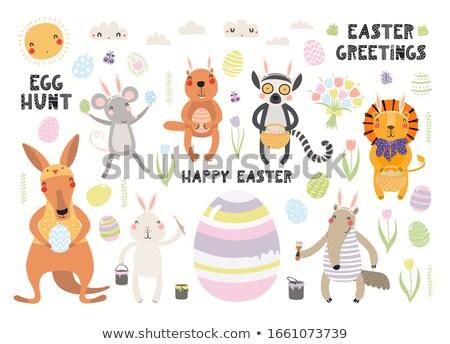 happy easter set of funny white rabbits stock photo © orensila