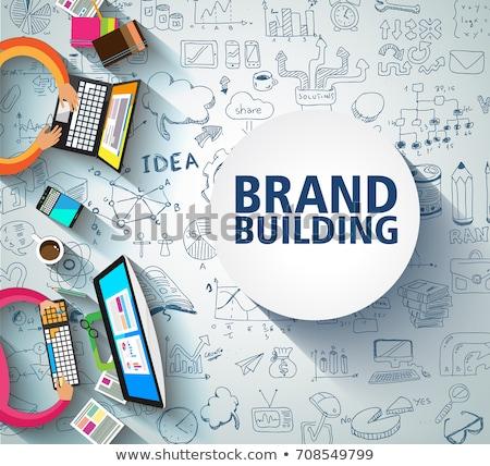brand building concept with business doodle design style compan stock photo © davidarts