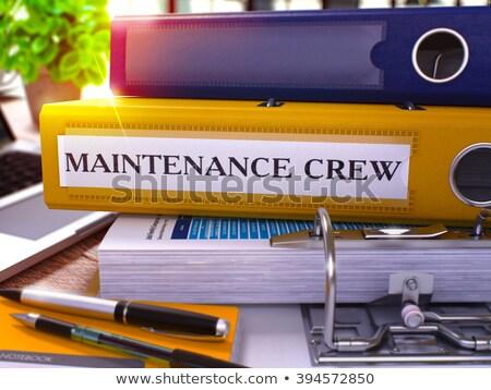 Citromsárga gyűrű felirat karbantartás legénység dolgozik Stock fotó © tashatuvango