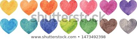 Regenboog hart kleur potloden top Stockfoto © Sonya_illustrations