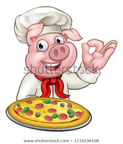 Rajz pizza szakács disznó karakter pizzéria Stock fotó © Krisdog