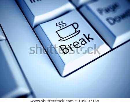Pausa caffè tastiera chiave dito spingendo metallico Foto d'archivio © tashatuvango
