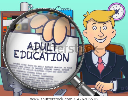 Adult Education through Magnifier. Doodle Style. Stock photo © tashatuvango