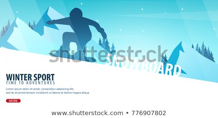 Winter Sport. Ski and Snowboard. Mountain landscape. Sportsman ski slope down. Vector illustration. Stock photo © Leo_Edition