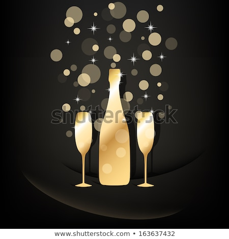Сток-фото: элегантный · очки · желтый · шампанского · пузырьки · черный