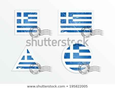Vierkante grunge vlag Griekenland 3d illustration retro Stockfoto © MikhailMishchenko