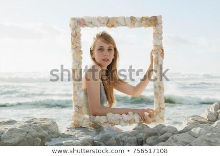 Foto stock: Nina · Shell · marco · de · imagen · belleza · adolescente