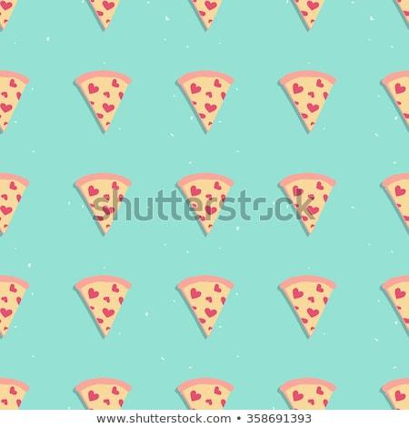 İtalyan pizza kalp etiket peynir mantar Stok fotoğraf © lissantee