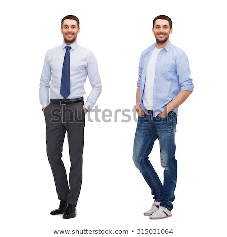 Full length image of smiling bearded man in business clothes Stock photo © deandrobot