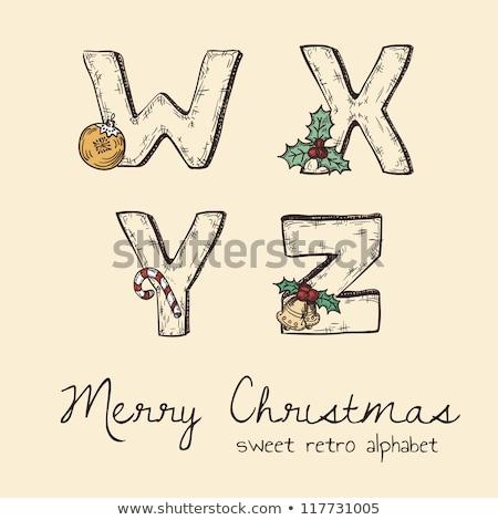 Grabado alegre Navidad feliz año nuevo tipográfico diseno Foto stock © articular