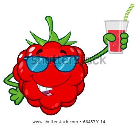 Funny Raspberry Fruit Cartoon Mascot Character With Sunglasses Holding Up A Glass Of Juice Stock photo © hittoon