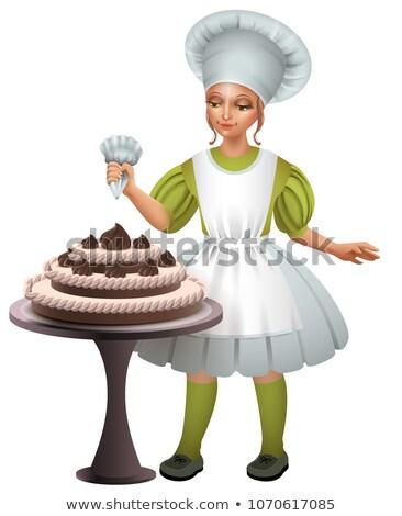Kislány szakács egyenruha díszített csokoládés sütemény izolált Stock fotó © orensila