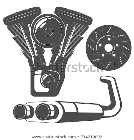 Exhaust pipe bike isolated. Motorcycle part. Vector illustration Stock photo © popaukropa