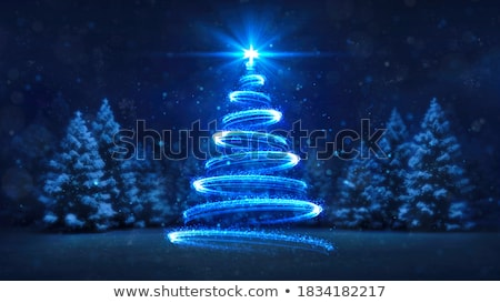 piękna · lasu · noc · stylizowany · malowniczy · ilustracja - zdjęcia stock © bluering