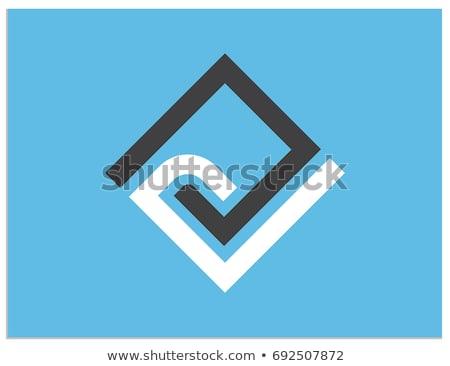 Kék fekete gyémánt alakú n betű vektor Stock fotó © cidepix