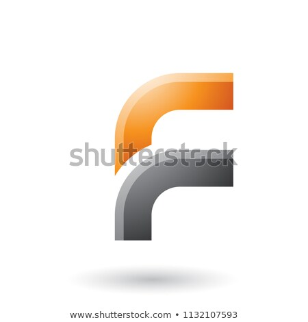 Orange and Black Letter F with Round Corners Vector Illustration Stock photo © cidepix
