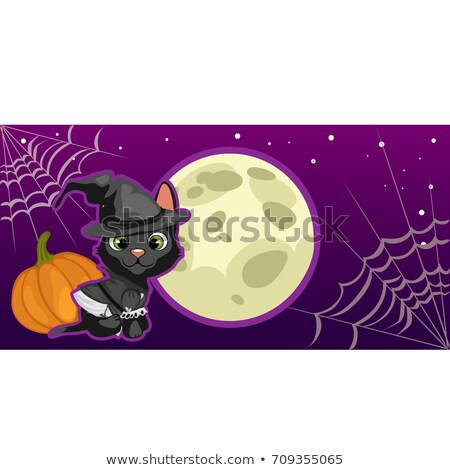Poster in style of holiday all evil Halloween. A little black kitten in witch hat at midnight by the Stock photo © Lady-Luck