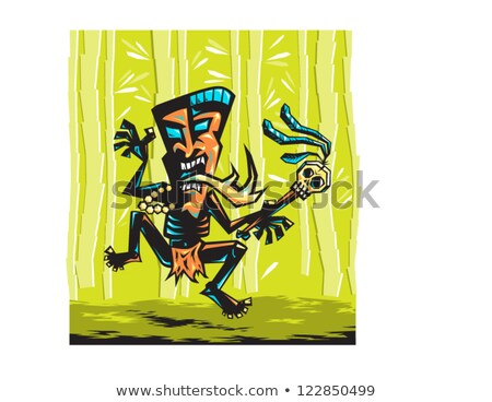 angry cartoon witch doctor stock photo © cthoman
