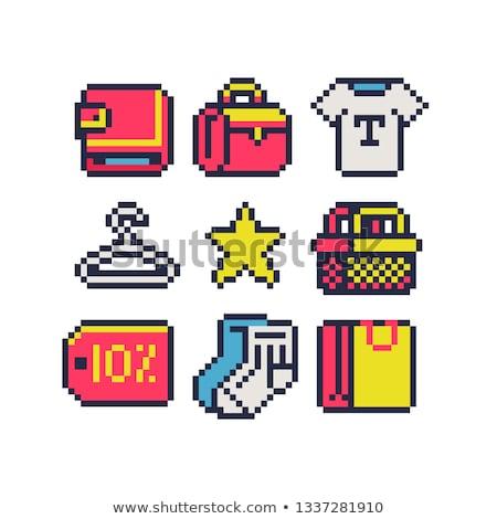 shopping bags pixel art set Stock photo © toffees