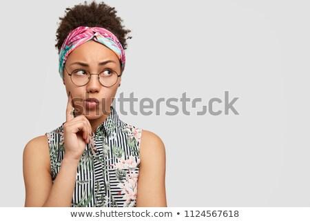sinir · genç · kadın · ayakta · parmaklar · kadın · kız - stok fotoğraf © deandrobot
