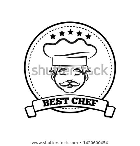 Best chef zwart wit embleem hoed teken Stockfoto © robuart