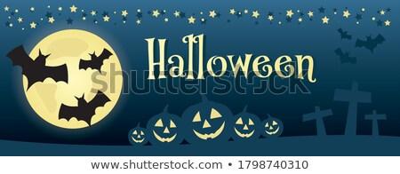 Happy Halloween text greeting card on orange pumpkin lantern outline Stock photo © orensila