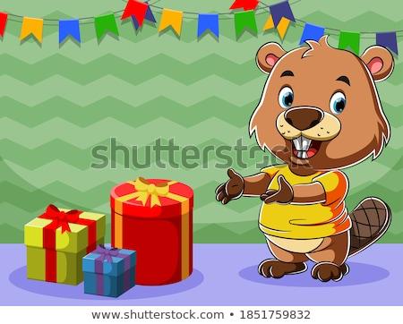 Surpreendido pequeno castor desenho animado ilustração olhando Foto stock © cthoman