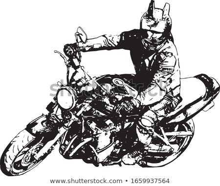 a man riding motorcycle on the road vector illustration stock photo © vicasso