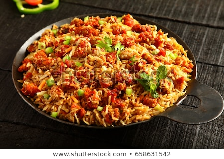 Delicious fried rice with chicken in wok Stock photo © dash