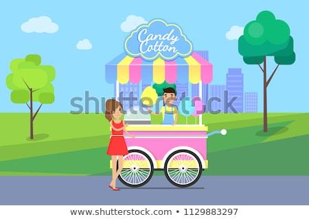 Dulces algodón anunciante vendedor móviles tienda Foto stock © robuart
