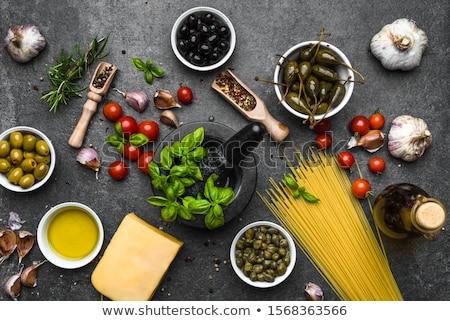 Italiano cozinhar ingredientes molho de tomate azeitonas Foto stock © YuliyaGontar