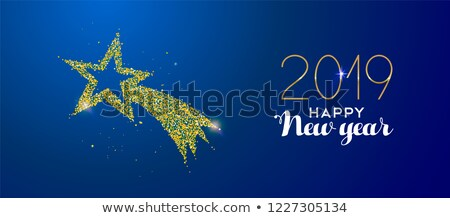 New Year 2019 gold glitter holiday shooting star Stock photo © cienpies