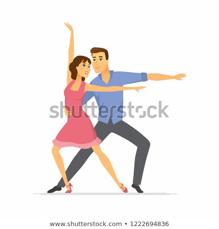 hustle dancers   cartoon people characters colorful illustration stock photo © decorwithme