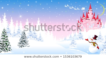 Stock photo: Pink castle, forest, winter, Santa