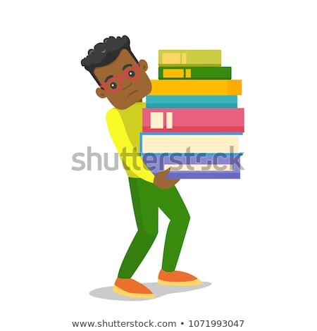 Kimerült rajz afroamerikai férfi illusztráció fut néz Stock fotó © cthoman