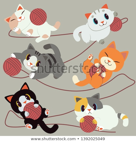 cartoon little cat playing yarn stock photo © cthoman