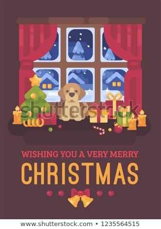 冬天 · 雪花 · 樹 · 夜景 · 插圖 · 聖誕節 - 商業照片 © ivandubovik