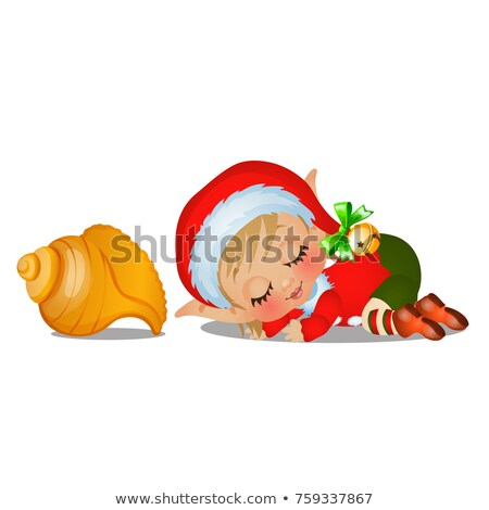 Santas helper sleeping with large seashell isolated on white background. The attributes of Christmas Stock photo © Lady-Luck